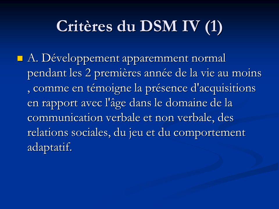 Critères du DSM IV (1)