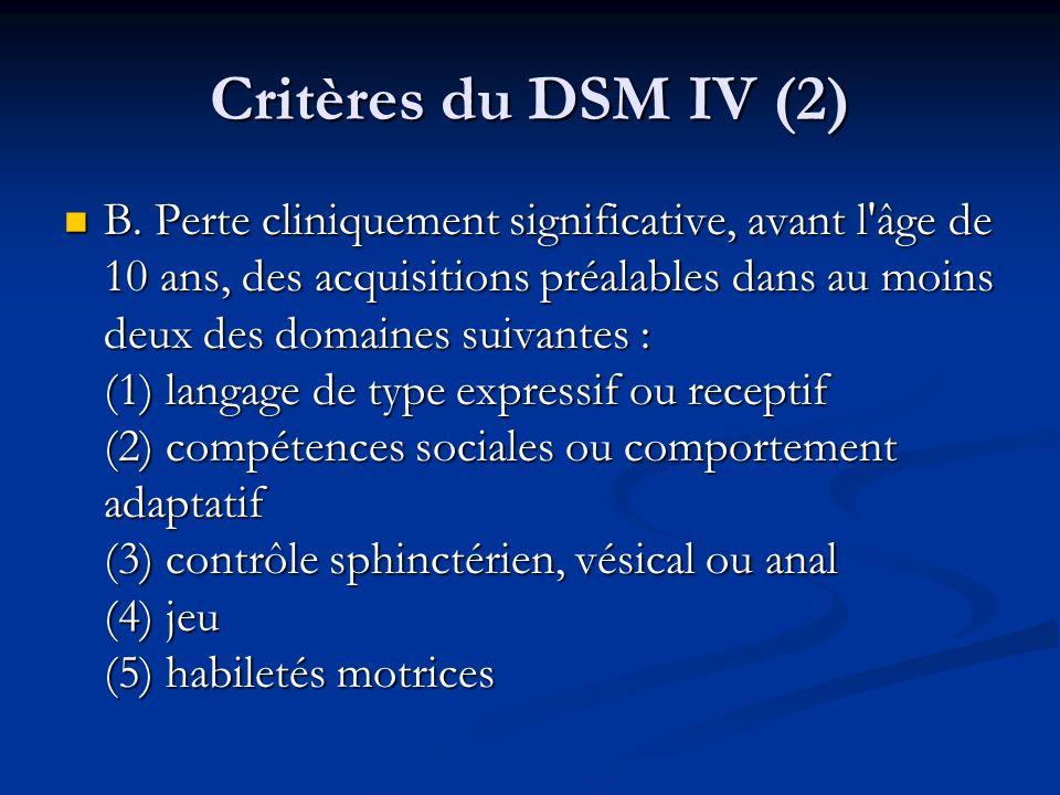 Critères du DSM IV (2)