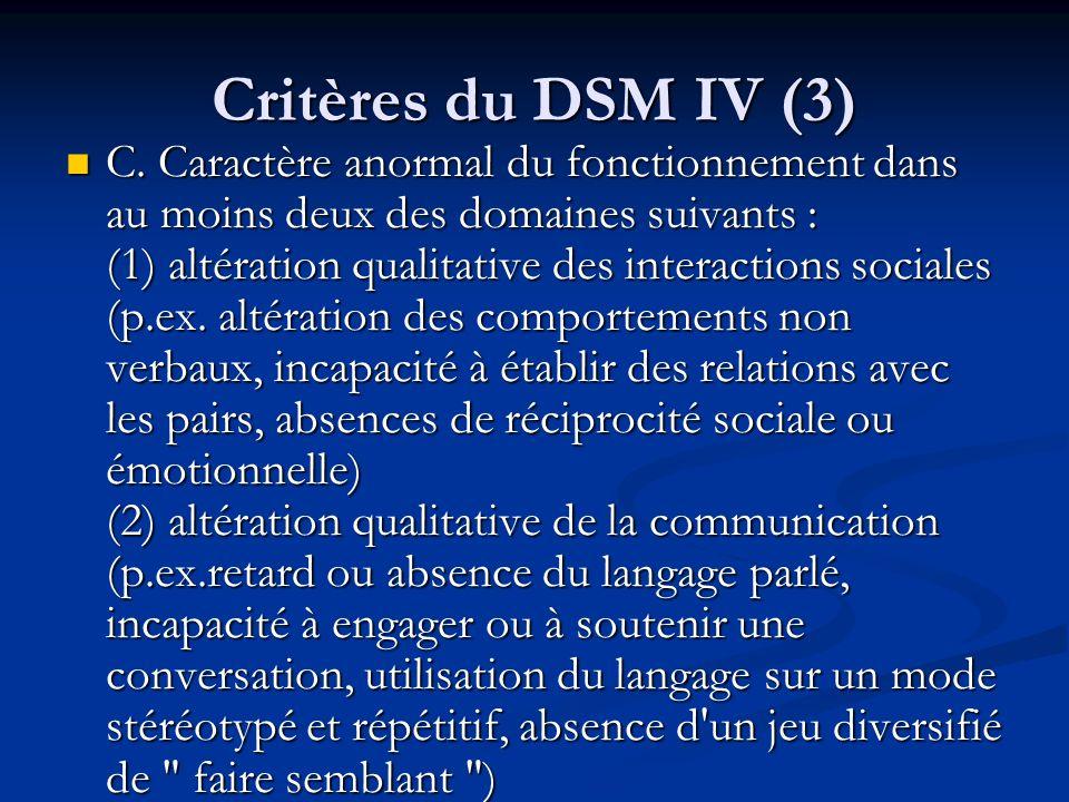 Critères du DSM IV (3)