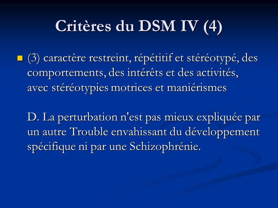 Critères du DSM IV (4)