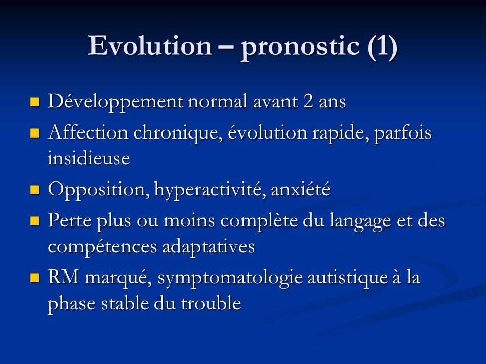 Evolution – pronostic (1)