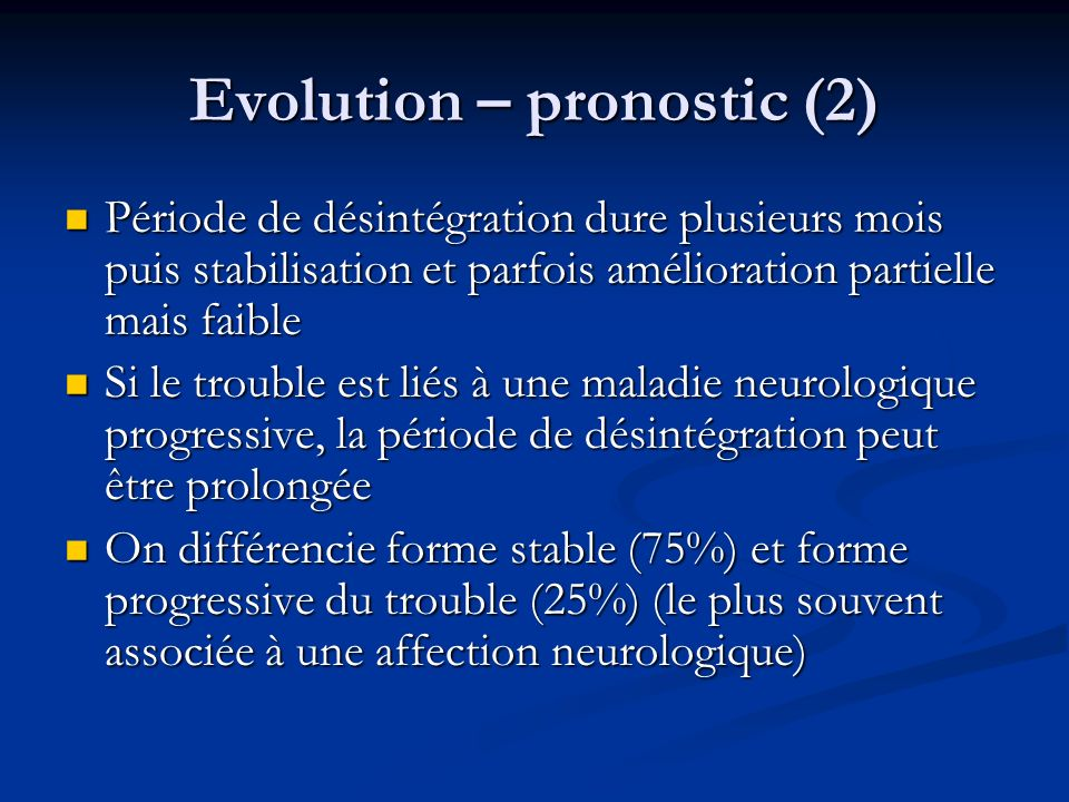 Evolution – pronostic (2)