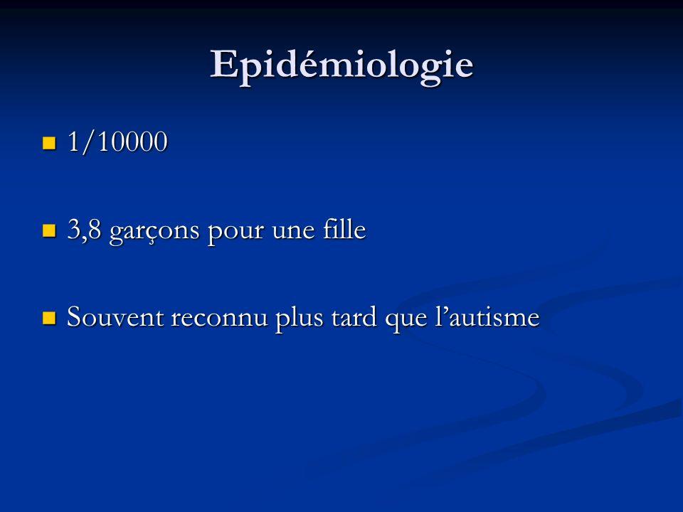 Epidémiologie 1/10000 3,8 garçons pour une fille