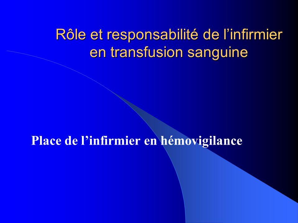 Rôle et responsabilité de l'infirmier en transfusion sanguine