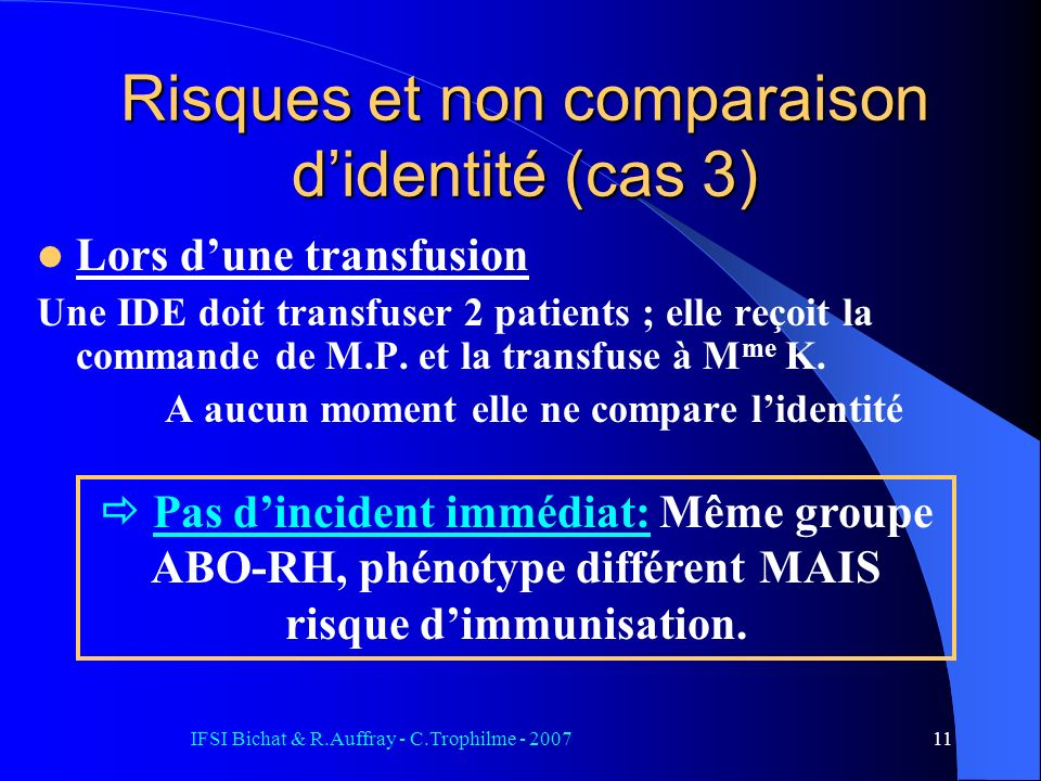Risques et non comparaison d'identité (cas 3)
