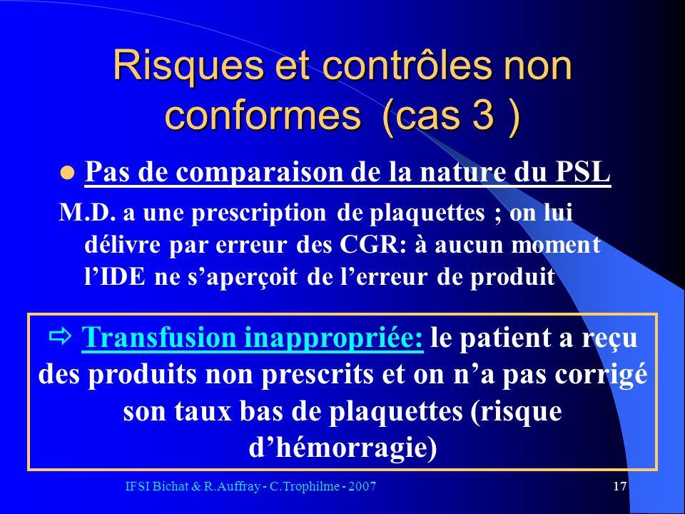 Risques et contrôles non conformes (cas 3 )