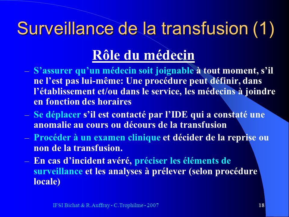 Surveillance de la transfusion (1)