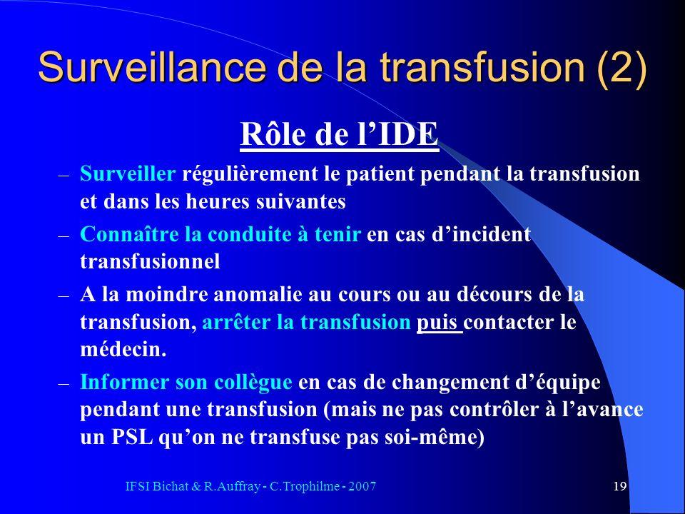 Surveillance de la transfusion (2)