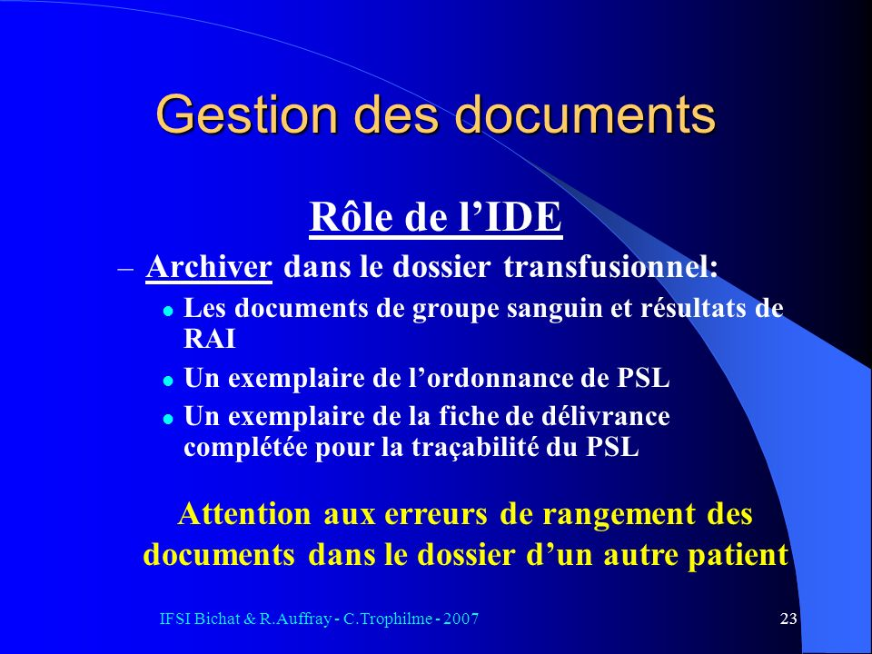IFSI Bichat & R.Auffray - C.Trophilme - 2007