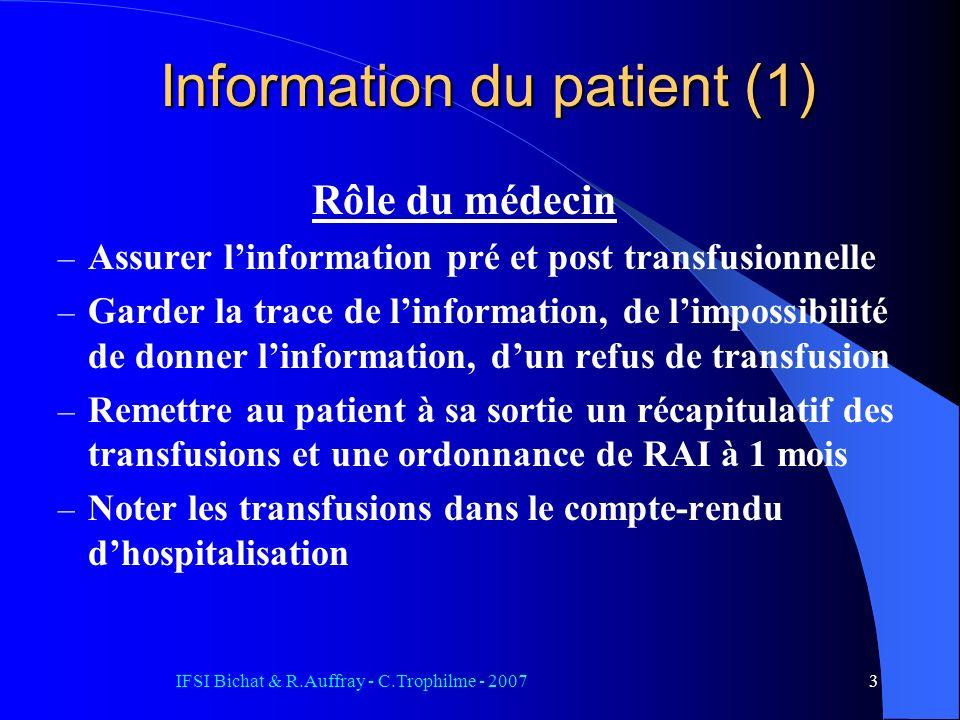 Information du patient (1)