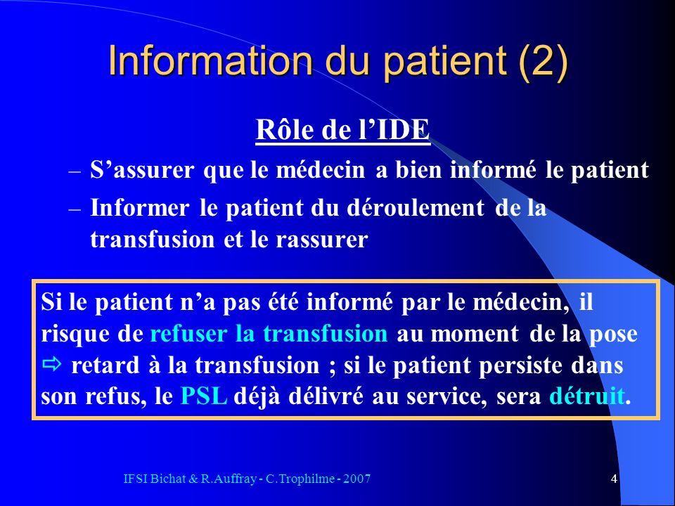 Information du patient (2)