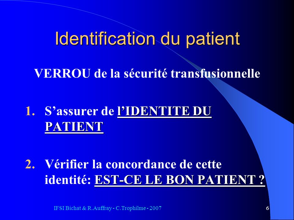 Identification du patient
