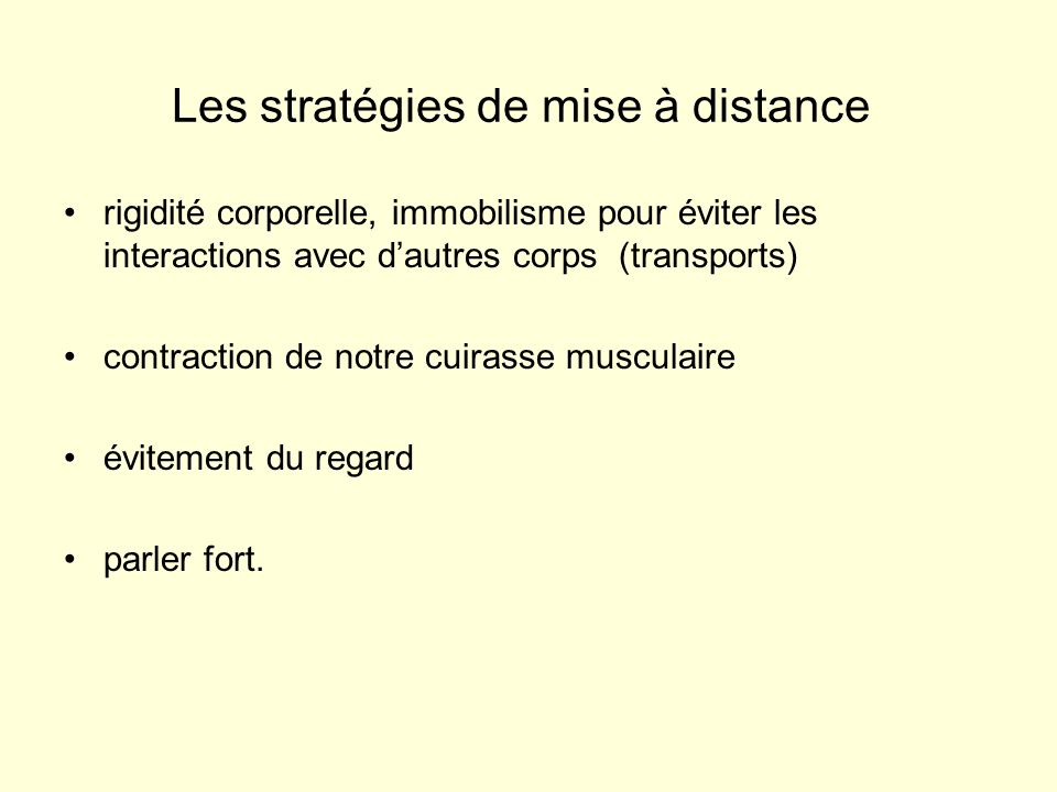 Les stratégies de mise à distance