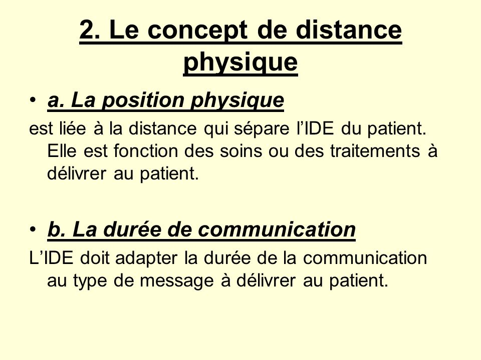 2. Le concept de distance physique