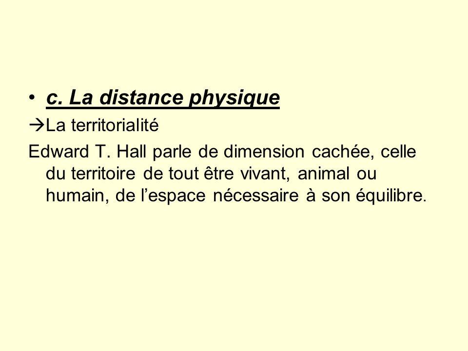 c. La distance physique La territorialité