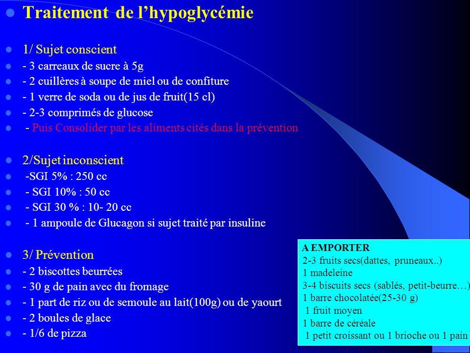 Traitement de l'hypoglycémie