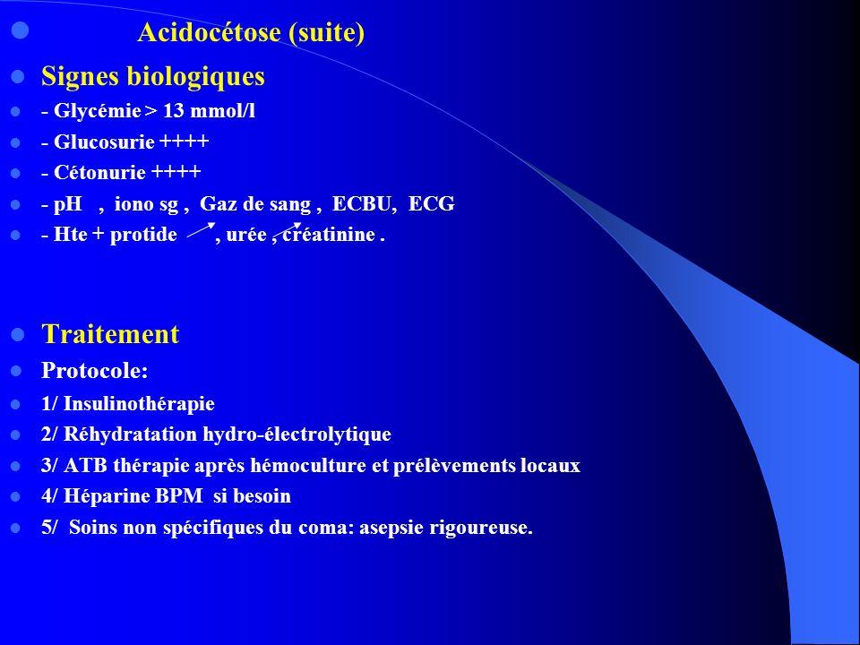 Acidocétose (suite) Signes biologiques Traitement Protocole: