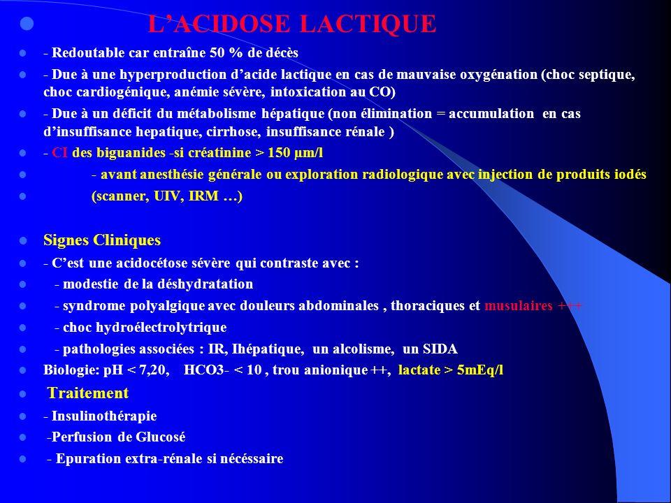 L'ACIDOSE LACTIQUE Signes Cliniques