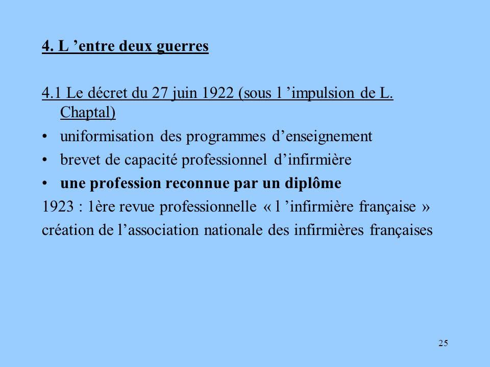 4. L 'entre deux guerres4.1 Le décret du 27 juin 1922 (sous l 'impulsion de L. Chaptal) uniformisation des programmes d'enseignement.