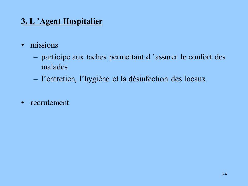 3. L 'Agent Hospitalier missions. participe aux taches permettant d 'assurer le confort des malades.