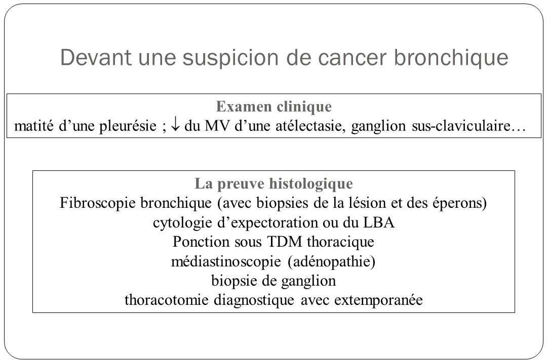 Devant une suspicion de cancer bronchique