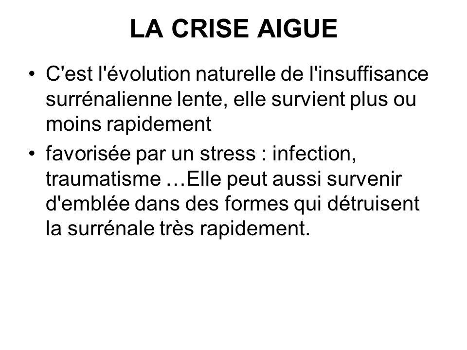 LA CRISE AIGUE C est l évolution naturelle de l insuffisance surrénalienne lente, elle survient plus ou moins rapidement.