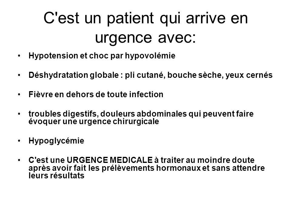C est un patient qui arrive en urgence avec: