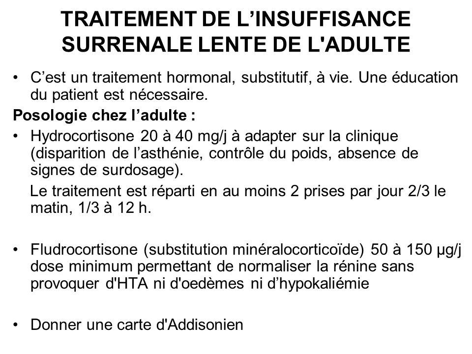 TRAITEMENT DE L'INSUFFISANCE SURRENALE LENTE DE L ADULTE
