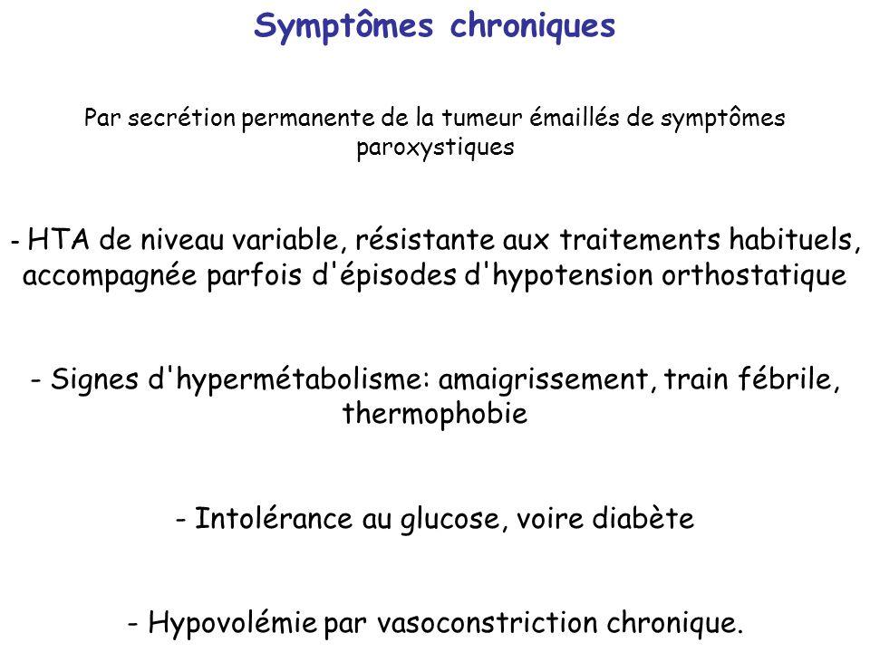 Symptômes chroniques Par secrétion permanente de la tumeur émaillés de symptômes paroxystiques.