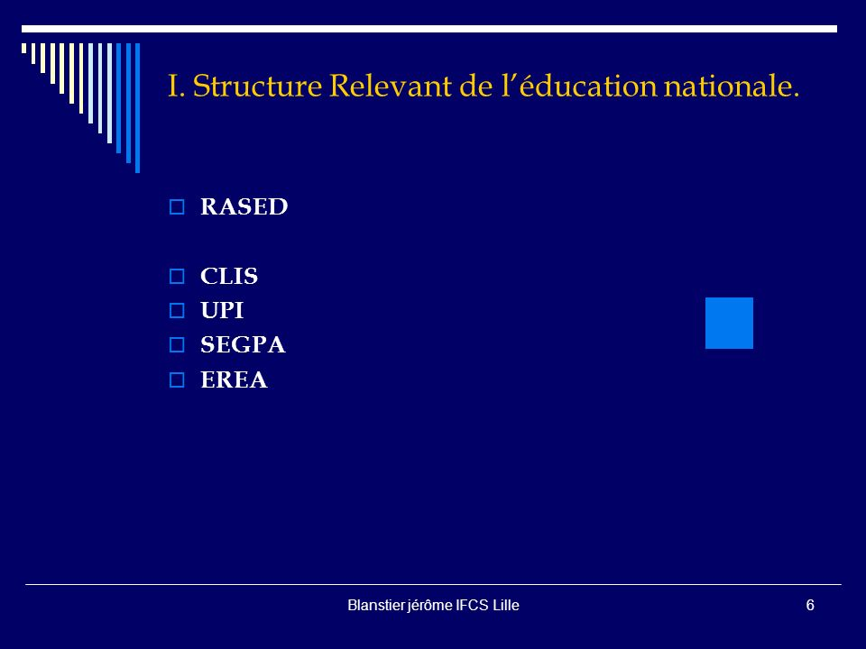 I. Structure Relevant de l'éducation nationale.
