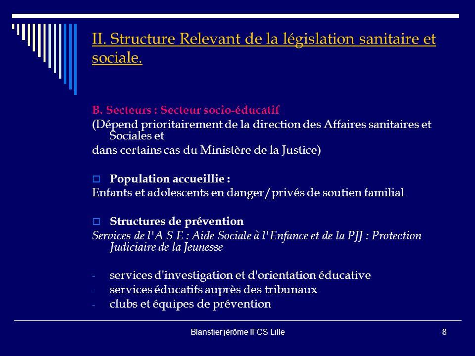 II. Structure Relevant de la législation sanitaire et sociale.