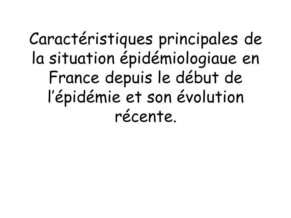 Caractéristiques principales de la situation épidémiologiaue en France depuis le début de l'épidémie et son évolution récente.