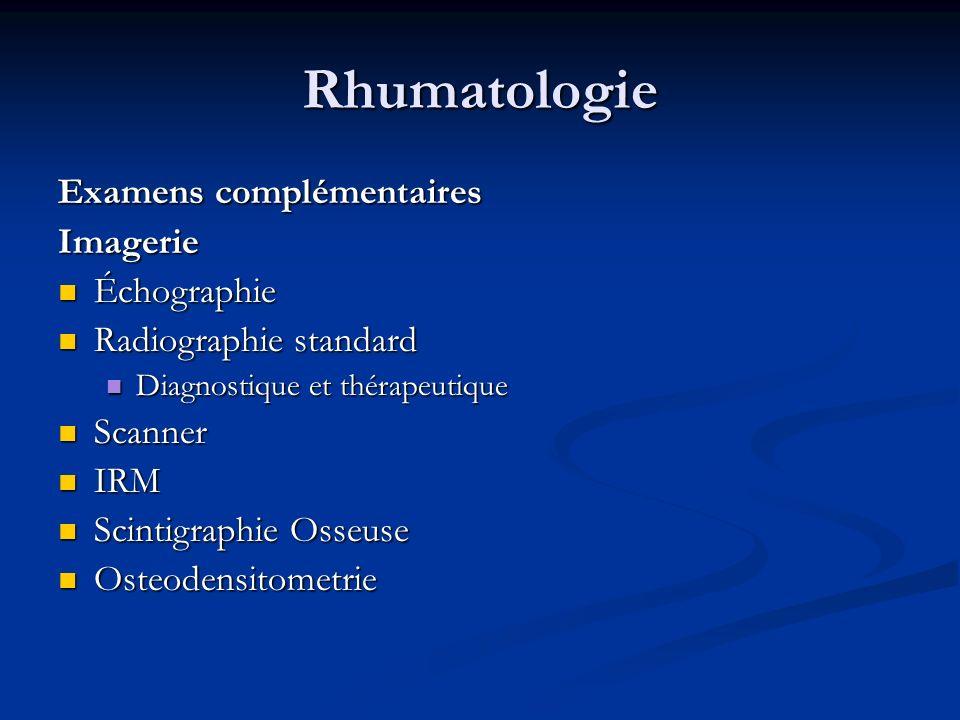 Rhumatologie Examens complémentaires Imagerie Échographie