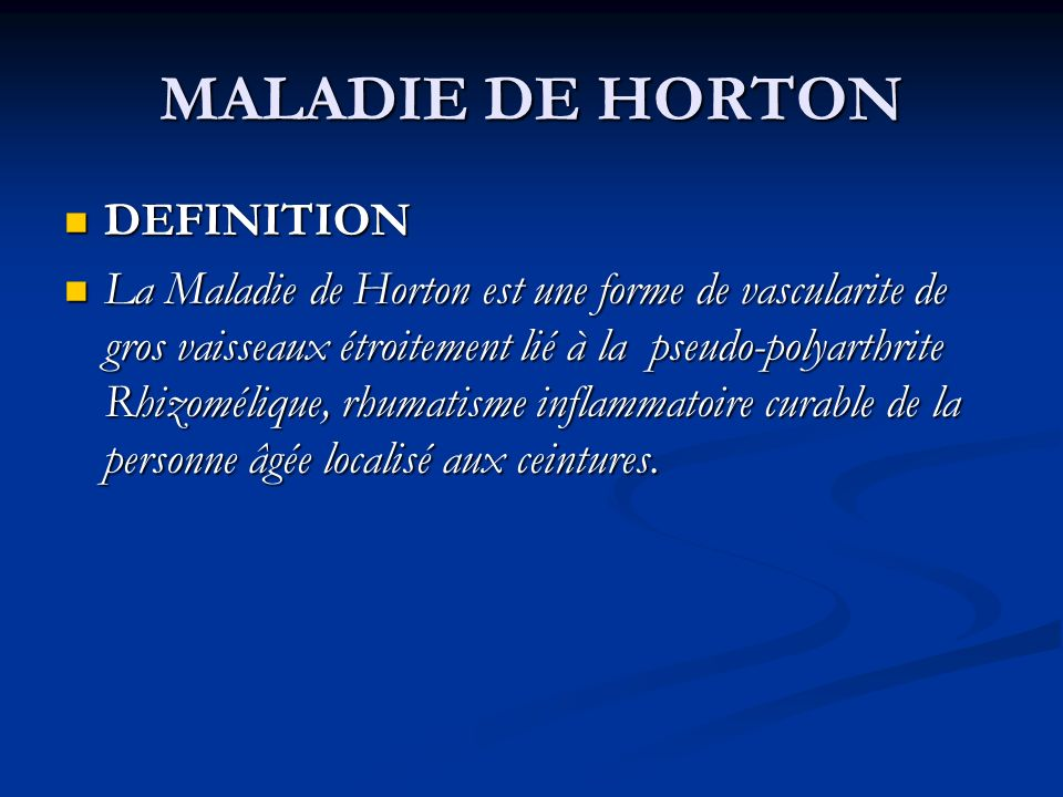 MALADIE DE HORTON DEFINITION