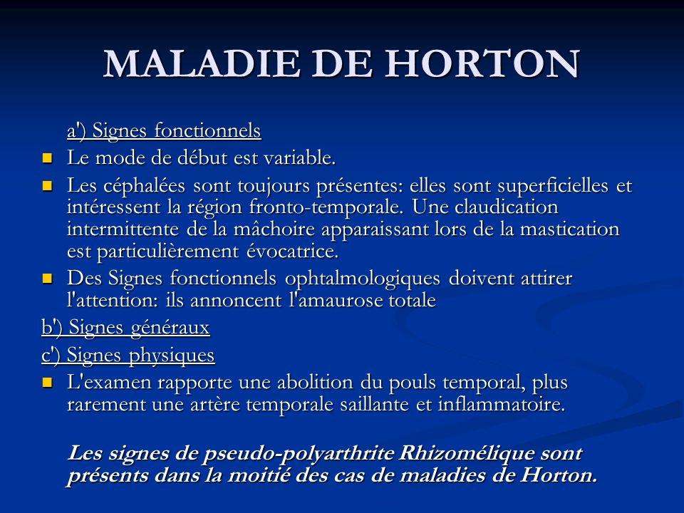 MALADIE DE HORTON a ) Signes fonctionnels