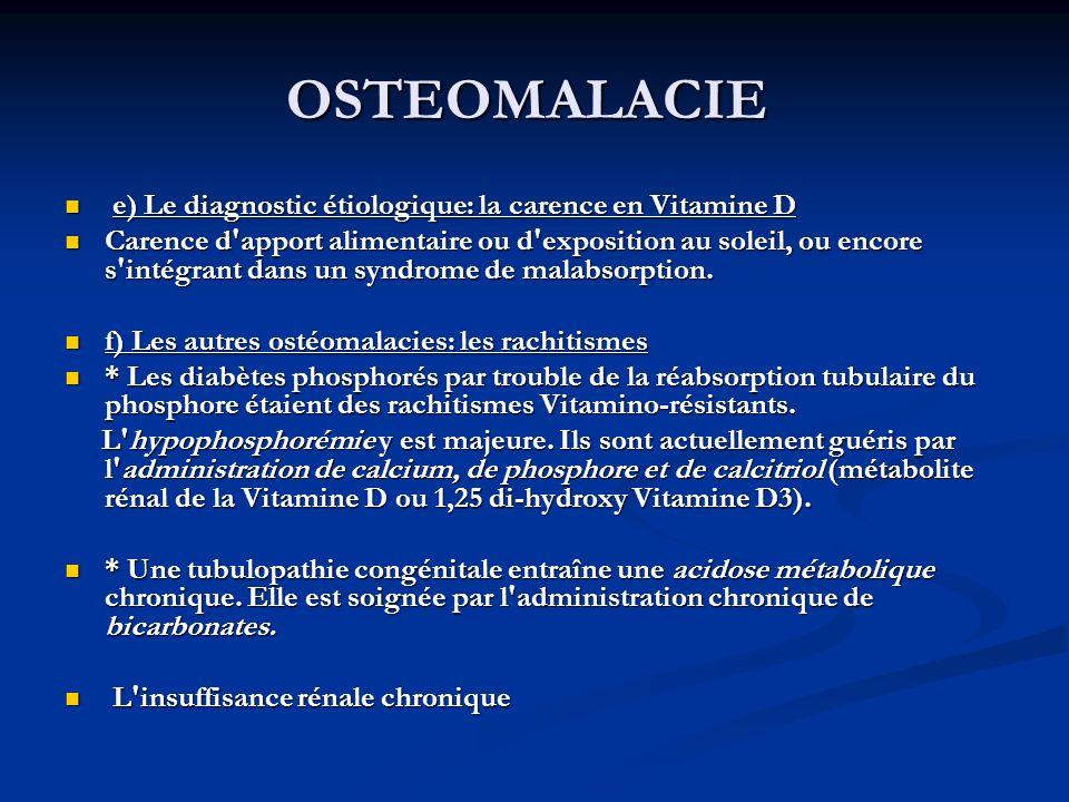 OSTEOMALACIE e) Le diagnostic étiologique: la carence en Vitamine D