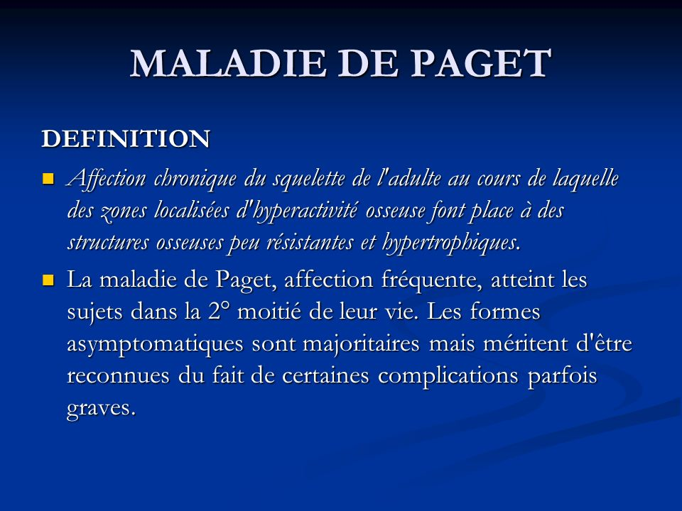 MALADIE DE PAGET DEFINITION