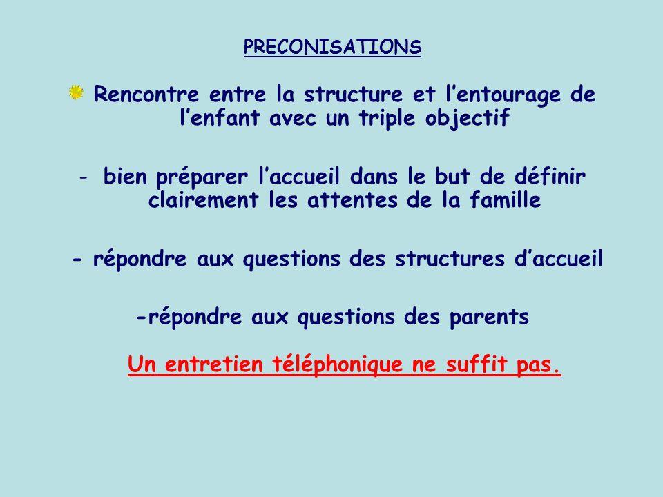 - répondre aux questions des structures d'accueil