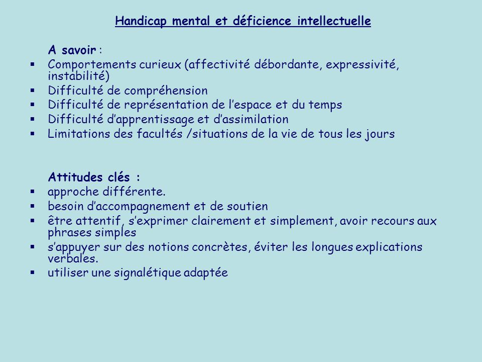 Handicap mental et déficience intellectuelle