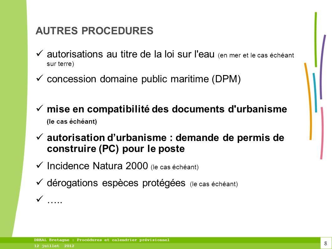 AUTRES PROCEDURES autorisations au titre de la loi sur l eau (en mer et le cas échéant sur terre) concession domaine public maritime (DPM)