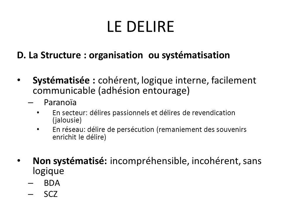 LE DELIRE D. La Structure : organisation ou systématisation