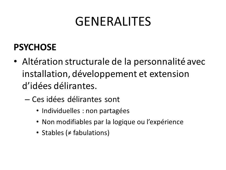 GENERALITES PSYCHOSE. Altération structurale de la personnalité avec installation, développement et extension d'idées délirantes.