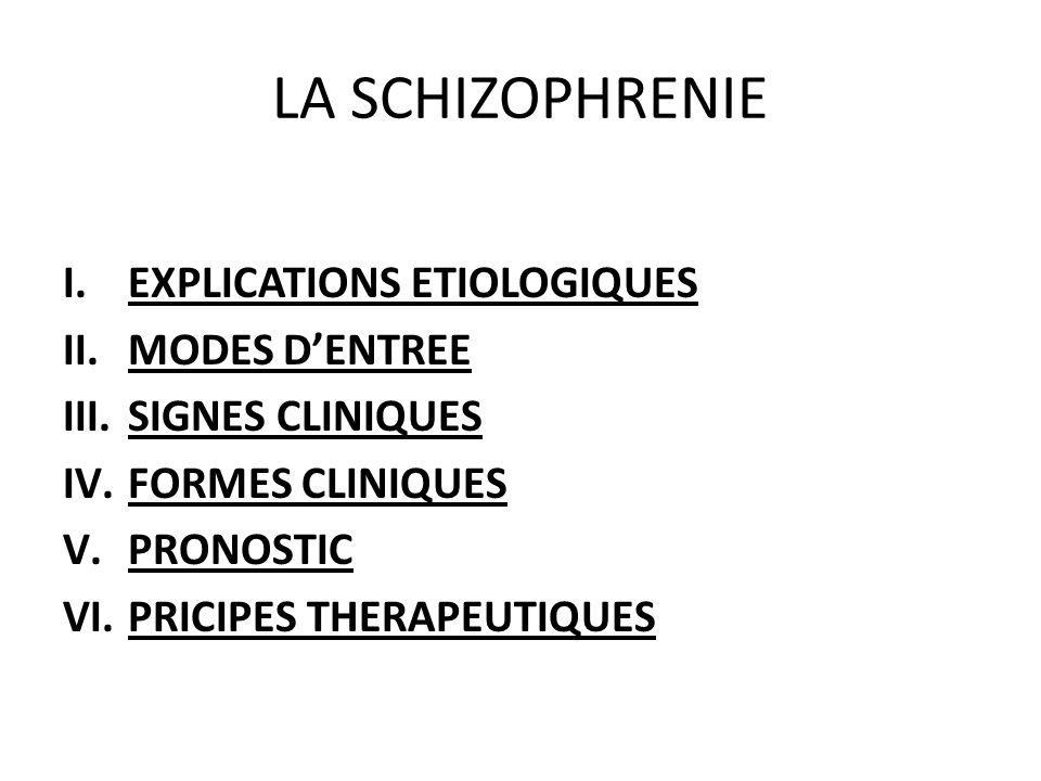 LA SCHIZOPHRENIE EXPLICATIONS ETIOLOGIQUES MODES D'ENTREE