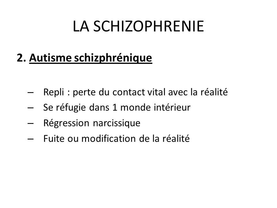 LA SCHIZOPHRENIE 2. Autisme schizphrénique