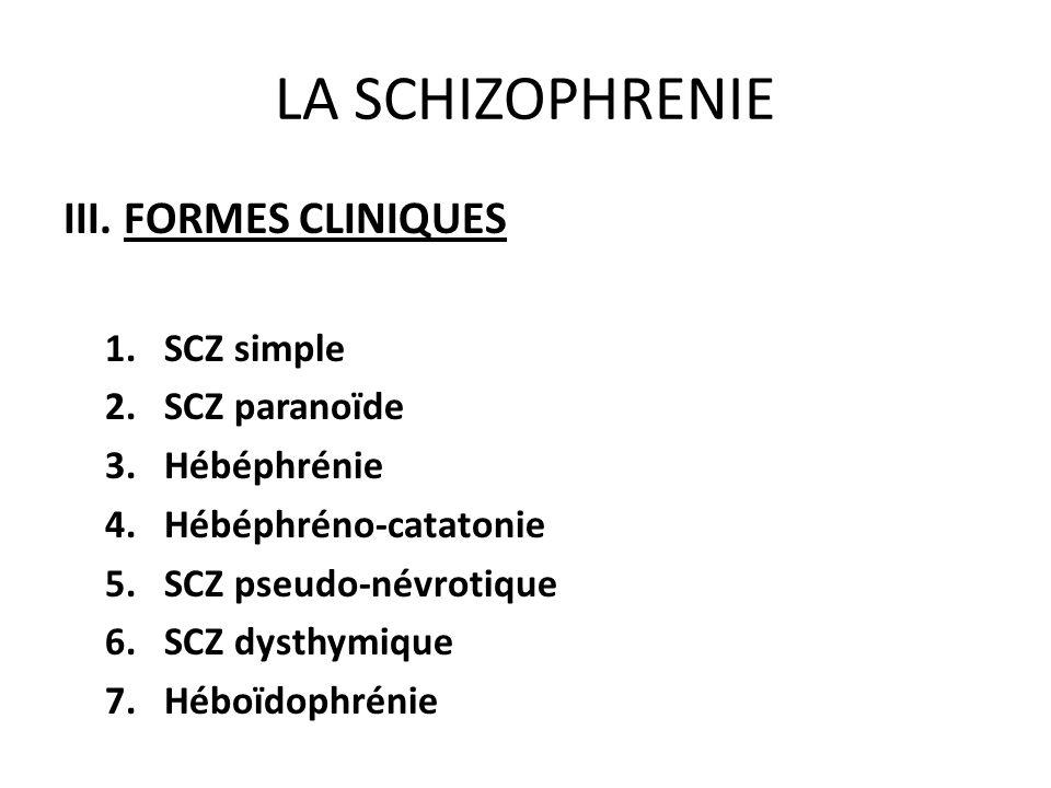 LA SCHIZOPHRENIE III. FORMES CLINIQUES SCZ simple SCZ paranoïde