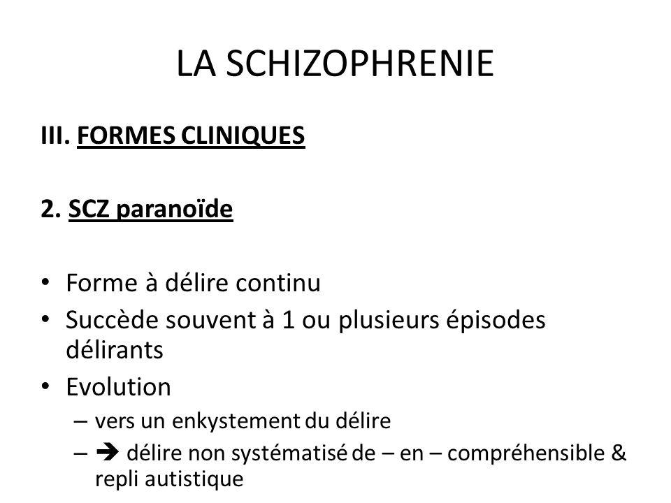LA SCHIZOPHRENIE III. FORMES CLINIQUES 2. SCZ paranoïde