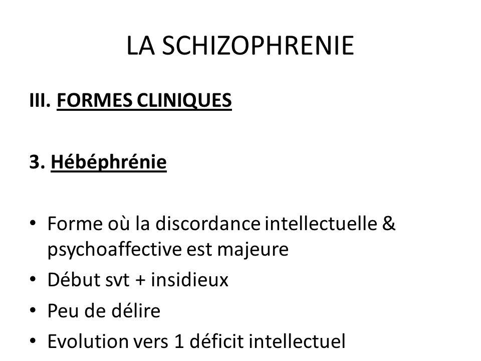 LA SCHIZOPHRENIE III. FORMES CLINIQUES 3. Hébéphrénie