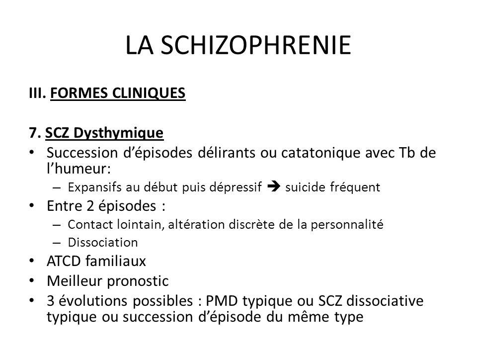 LA SCHIZOPHRENIE III. FORMES CLINIQUES 7. SCZ Dysthymique