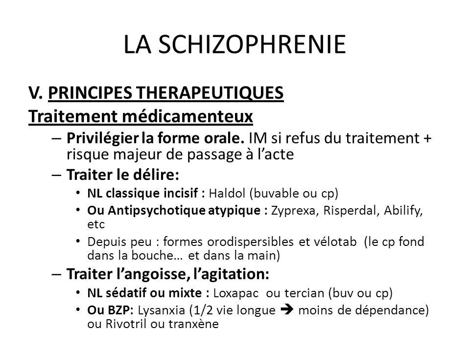 LA SCHIZOPHRENIE V. PRINCIPES THERAPEUTIQUES Traitement médicamenteux