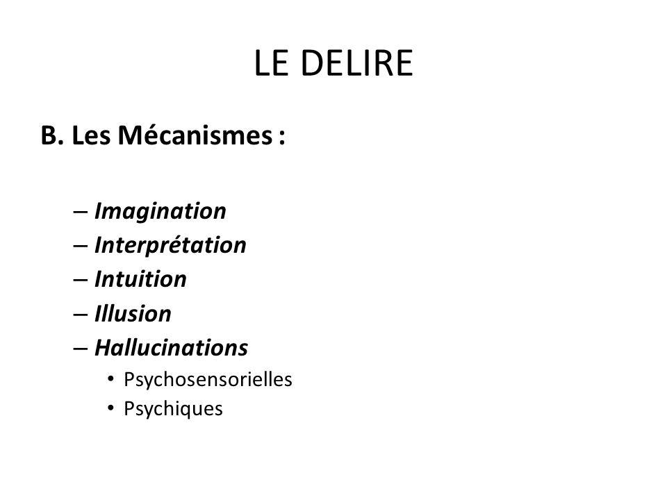 LE DELIRE B. Les Mécanismes : Imagination Interprétation Intuition